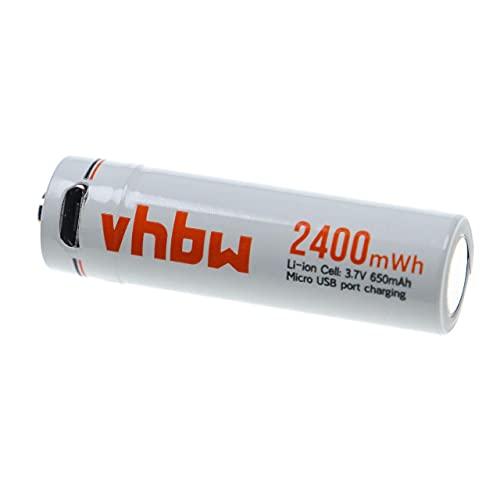 vhbw Batería AA Mignon - con Conector USB Micro, 650 mAh, 3,7 V, Li-Ion