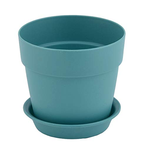 sourcingmap jardin jardinage Plastique design ronde Fleur Plante Plateau Pot Semoir Support Bleu 9.6cm