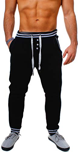 Young & Rich Herren Baggy Freizeithose Sporthose Sweatpants Jogginghose Trainingshose tief sitzend Drop Crotch Low mit Knopfleiste, Grösse:S, Farbe:Schwarz