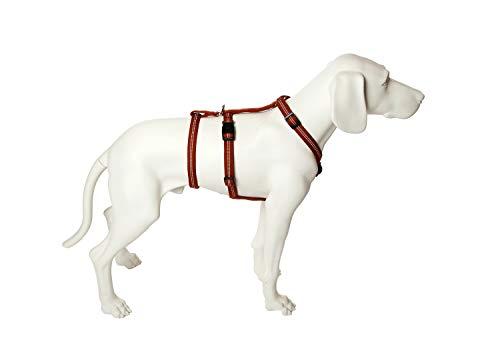 Feltmann Das Original - NoExit Hundegeschirr ® - Zweiter Bauchgurt abnehmbar, Sicherheitsgeschirr für Pflegehunde, Panikgeschirr, No Escape, Super Soft, Cognac, Bauchumfang 55-75 cm, 20 mm Bandbreite