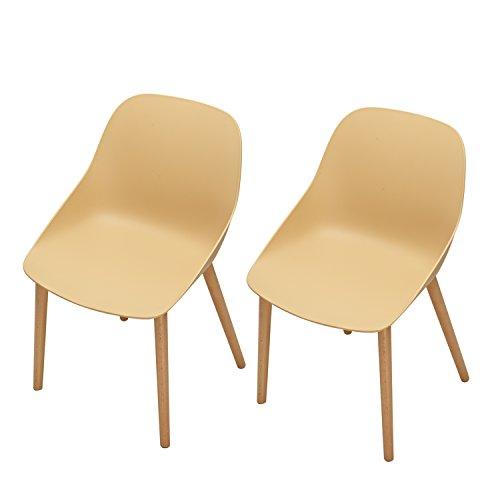 Adeco Beechwood Chairs (Warm Cream) (Set of Two)