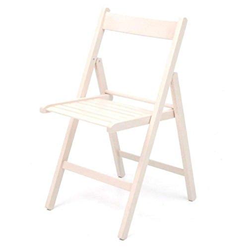 4 sedie pieghevole sedia birreria in legno verniciato VARI COLORI richiudibile per campeggio casa e giardino (BIANCA)