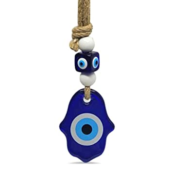 Hamsa Hand Hanging Car Charm Ornament Accessory for Rear View Mirror in Glass for Blessings Reflect Negative Energy Perfect New Driver Party Favor for Weddings Wall Decor in Navy Blue Glass