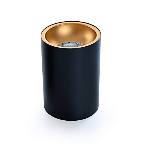 Deckenleuchte BETA-SR Aufbaustrahler Lampe 100x100mm Aufputz Leuchte Strahler mit GU10 Fassung 230V Rund Schwarz/Gold aus Aluminium