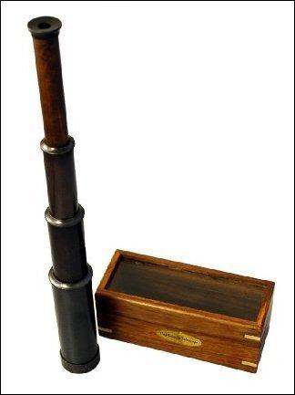 bombayjewel 15' Hand Held Antique Black Finish Brass Telescope with Wood Box - Nautical Captain