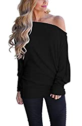 LACOZY Women's Off Shoulder Long Sleeve Oversized Pullover Sweater Knit Jumper Loose Tunic Tops