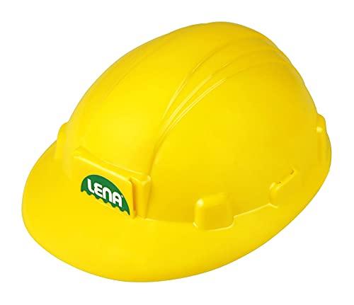 Lena 69841 - Baustellenhelm ca. 24 cm, Bauarbeiter Kinderhelm in Größe verstellbar, Bauhelm für kleine Baumeister, Baustellen Rollenspiel und Fasching, Kostüm Zubehör Helm für Kinder ab 2 Jahren, gelb