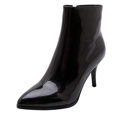 friendGG Stiefel Damen Stiefeletten Frühling Herbst Mode Zipper Blockabsatz Shoes Booties Chelsea...