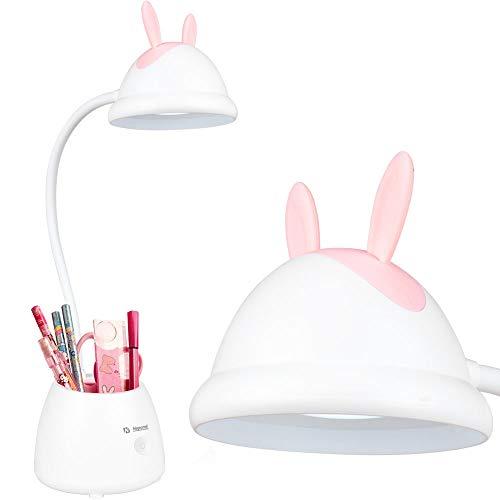 Neporal Barn LED-skrivbordslampa, 3 ljusstyrka beröringskontroll läslampa, justerbar svanhals ögonvänlig läslampa för barn arbetsbord (med pennhållare)