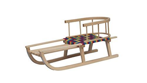 4myBaby GmbH Best for Kids Holzschlitten für Kinder mit Rückenlehne Rodelschlitten Davoser aus Holz