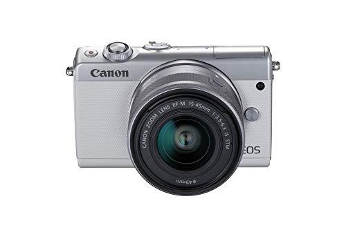 Canon EOS M100 WH M15-45 S - Cámara con Sensor APS-C de 24.2 MP (DIGIC 7, Dual Pixel CMOS AF, Pantalla táctil LCD de 8 cm, Full HD a 60P) Blanco