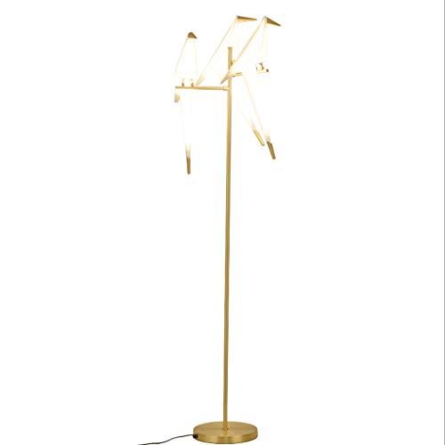 Lámpara De Pie 65' Mil Grúa de papel Lámpara posmoderna simple plug-in Swing acrílico estándar del metal del oro de la lámpara for la sala Lámpara De Piso (tamaño : B)