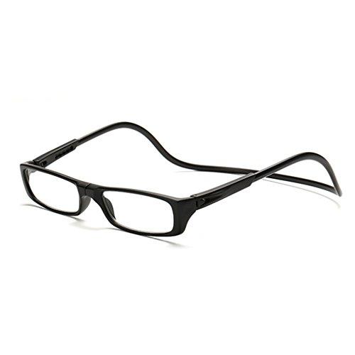 Kalttoy Verbesserte Unisex Magnet Lesebrille Männer Frauen Bunte Verstellbare Hängende Hals Magnetische Vorder presbyopie brille (Schwarz, 1.50)