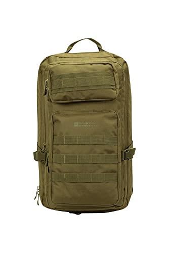 Mountain Warehouse Mochila Legion 35L - con Funda Protectora para Lluvia, Compartimento para Tablet, Espalda de Malla y Silbato - para Viajes, Festivales y excursiones Caqui Talla única