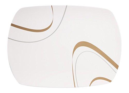 Hekers 100% Melamin-Geschirr Servierplatte Cappuccino elfenbeinweiss/braun, eckig Camping-Geschirr Tafel-Service Picknik-Geschirr Trekking Outdoor