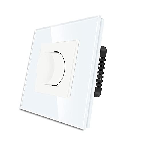 CNBINGO Triac - Regulador de intensidad de luz giratorio para LED, bombillas incandescentes y halógenas, cristal endurecido blanco, no necesita conductor neutro, 1 compartimento 1 vía, 500 W