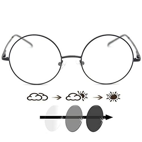 DDZHE Gafas de lectura para computadora Gafas de sol redondas Retro Progresivas Gafas multifoco Transición Gafas fotocromáticas, Negro