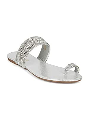 Alrisco Women Rhinestone Toe Ring Slip On Flat Sandal - IA49 by Lucita Collection - Silver Mix Media (Size: 7.0)