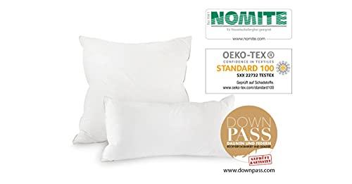 federiko® Almohada 100% algodón sin blanquear, fabricada en Alemania, 3 cámaras, almohada con certificado Oekotex, almohada hecha a mano, plumón clase I (40 x 80 cm suave)