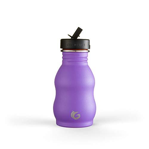 One Green Bottle - Botella de agua de acero inoxidable con curva, sin aislamiento, botella ecológica de una sola piel, 350 ml (morado unicornio)