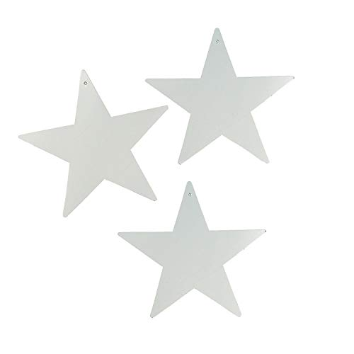 Silver Cardboard Stars - 12pc - Party Decor - Wall Decor - Cutouts