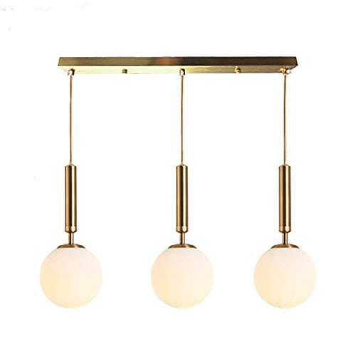 GJBHD Ajustables Simple Cristal Lámpara Colgante,E27 Moderno Metálica Bola De Burbuja Iluminación Colgante,De Lujo Decoración Iluminación Colgante Para Cabecera Comedor Dorado 3-luces-largo