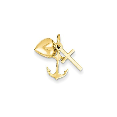 14k Yellow Gold Heart Cross Religious Nautical Anchor Ship Wheel Mariners Pendant Charm Necklace Love With Fine Jewelry For Women Gifts For Her