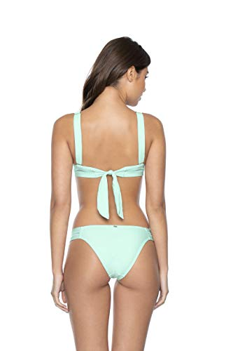 PQ Swim Women's Azura Stitched Tab Bikini Bottoms - Low Rise, Cheeky Coverage - Teeny, Small