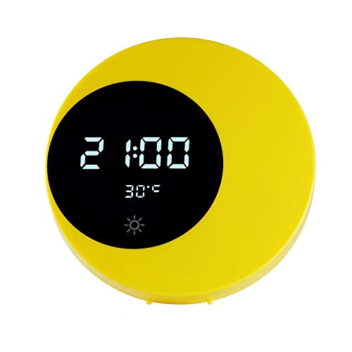 AOZBZ Moon Clock - Lámpara de Media Luna (Recargable, indicador de Temperatura de Tiempo, Control táctil, luz Nocturna Regulable)