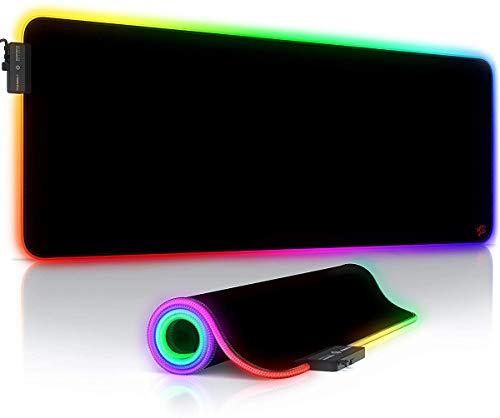 Alfombrilla de ratón para videojuegos, con base de goma antideslizante, suave alfombrilla para teclado, para MacBook, PC, portátil, escritorio, 300 x 800 x 4 mm, color negro
