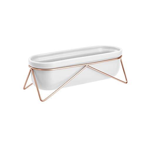 AmazonBasics Pflanztopf für den Tisch, oval, Weiß / Kupferfarben