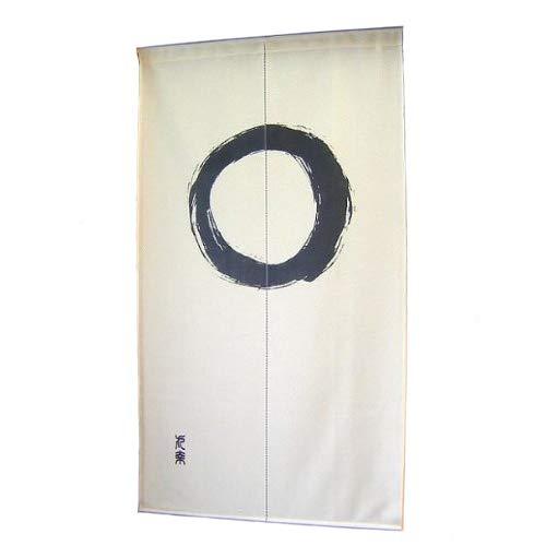 Fukui Textile Factory, Noren-Vorhang, Tapisserie, japanischer Stil, Enso, Kreis-Motiv, Made in Japan, Beige
