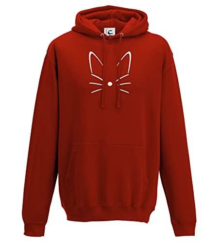 Lindo gato bigotes y orejas sudadera con capucha gato amante regalo regalo lindo gatito mascota con capucha jersey adultos y niños tamaños, rosso, XXX-Large