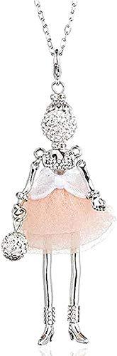 ZGYFJCH Co.,ltd Halskette Frau Halskette Halskette Mode Schöne Kurze Faden Kleid Puppe Anhänger Halskette Mode Strass Paris Mädchen Langkettige Halskette für Frauen Kolye Geschenk Schmuck