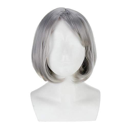 Perruque synthétique Femmes court synthétique gris perruque avec Bangs Bob perruque d'argent naturel résistant à la chaleur Bob Perruques Décoration cheveux ( Color : Gray , Size : One size )