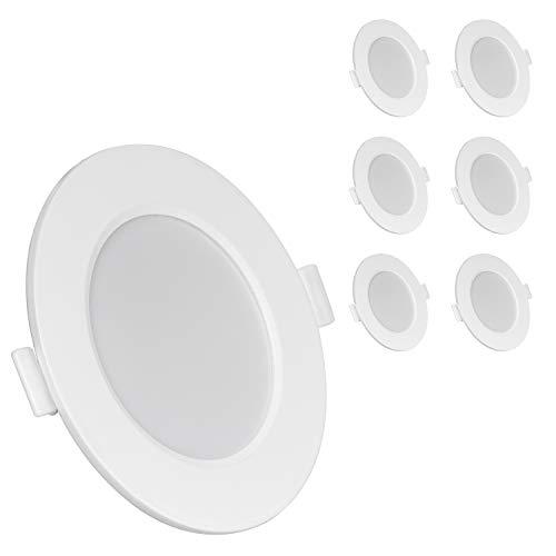 UKawhi LED Einbauleuchten Flach Dimmbar 6W 230V Warmweiss 6er Set IP44 LED Einbaustrahler dimmbar Badleuchten LED Spots 3000K für Wohnzimmer Badezimmer Einbautiefe 26mm [Energieklasse A+]