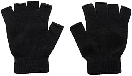 Men Black Knitted Fingerless Gloves, Autumn Winter Outdoor Elastic Warm Half Finger Cycling Gloves