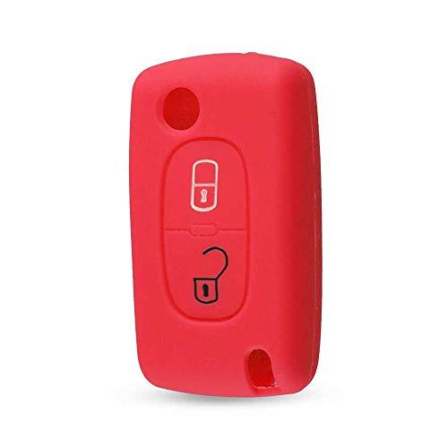 MPOQZI Funda Protectora de Silicona con 2 Botones para Llave remota, para Peugeot 107207307 307S 308407607 para Citroen C2 C3 C4 C5 C6 C8