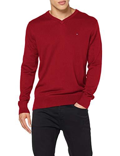 Tommy Hilfiger Herren Pima Cotton Cashmere V Neck Pullover, Arizona Red Heather, XXXL