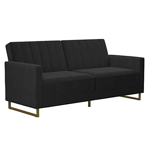 Novogratz Skylar Coil, Modern Sofa Bed and Couch, Black Velvet Futon
