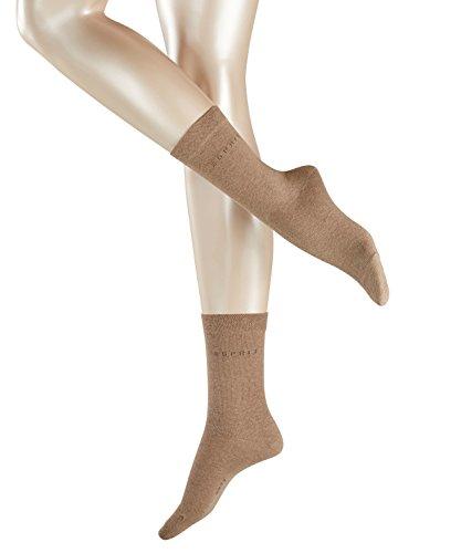 ESPRIT Damen Socken Basic Easy 2er Pack - 80prozent Baumwolle , 2 Paar, Braun (Nutmeg Melange 5410), Größe: 35-38