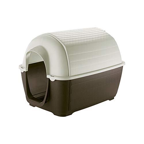 Ferplast Caseta de Exterior para Perros Kenny Mini, Resina termoplástica Resistente a los Golpes y a los Rayos UV, Sistema de Drenaje de líquidos, Rejilla de ventilación, 40 x 66 x h 40 cm