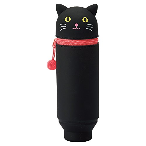 LIHITLAB PuniLabo Stand Up Pen Case (Pen Holder), 2.4' x 7.8', Black Cat (A7712-3)