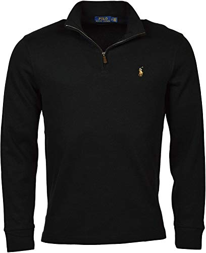 mens polo sweaters Polo Ralph Lauren Men's Estate Rib Half Zip Sweater, Dark Heather Black