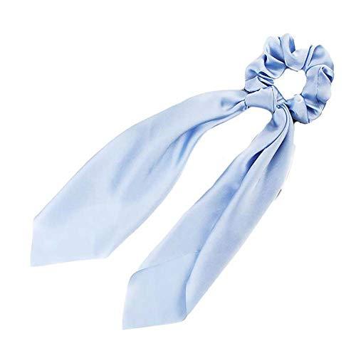 Qinlee Cheveux Chouchous Femmes Bandes Élastiques Foulards Queue de Cheval à Cheveux Couleur Unie Bowknot pour Accessoires de Cheveux Décorations Bleu Ciel