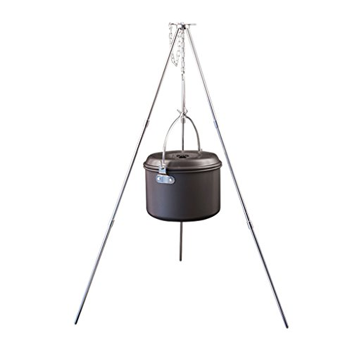 BrilliantDay 32-inch Height Portable Tripod Grilling Set Outdoor Garden Patio Tripod BBQ - Outdoor Picnic Camping BBQ Cooking Hanger with Storage Bag