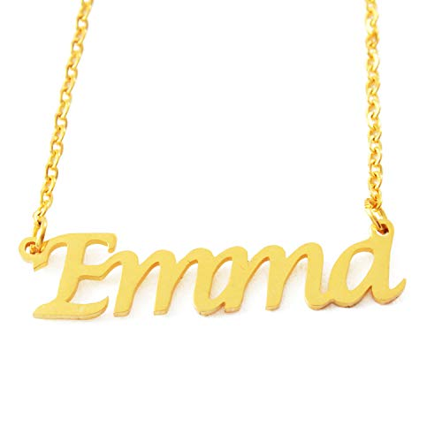 Kigu Emma Personalized Name - 18ct Gold Plated Necklace - Adjustable Chain 16' - 19' Packaging