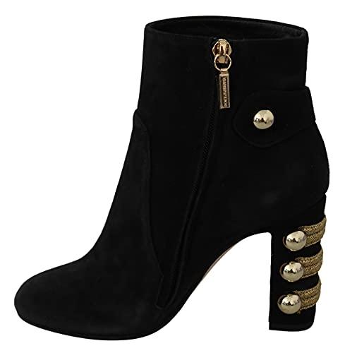 Dolce & Gabbana Black Suede Short Boots Zipper Shoes (EU36/US5.5, numeric_5_point_5)