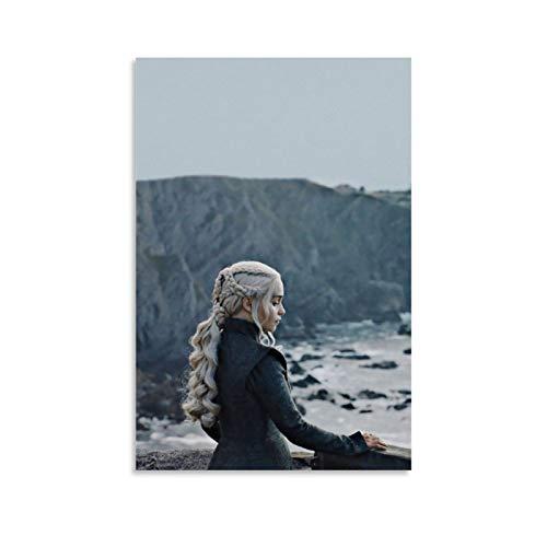 DRAGON VINES Póster de Juego de Tronos Daenerys Targaryen El Señor de los Siete Reinos, bonito póster artístico para residencia, oficina, decoración de habitación de 60 x 90 cm