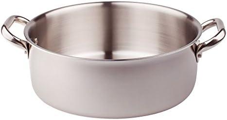 Pentole Agnelli ALIX106ALIN36 Faitout bas avec 2 poignées en acier, trilaminé aluminium-acier pour induction, 36 cm
